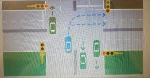 turning right at traffic lights